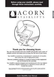 Acorn 120 Straight Stairlift Manual