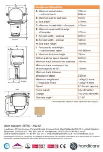 Handicare Simplicity L Dimensions Sheet